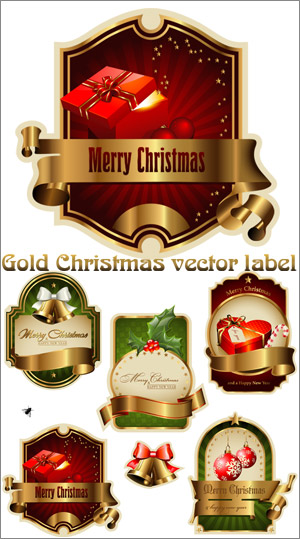 Gold Christmas Vector Label