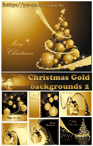 Christmas Gold backgrounds 2 Vector