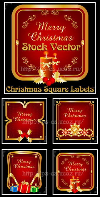 Stock Vector - Christmas Square Labels