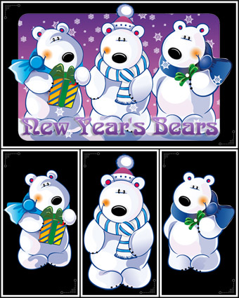 New Year's Bears Vector