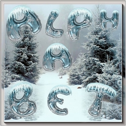 Winter ice alphabet