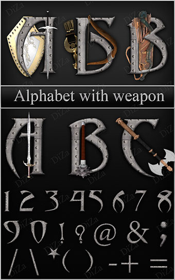 Alphabet with Weapon - Алфавит - «Рыцарский стиль»